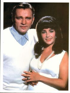elizabeth taylor & richard burton - glossy photo - posing !