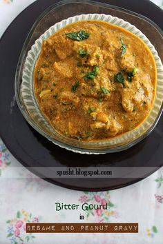 Tilli Phalli ke Karele: this recipe of bitter gourd is made in a delicious sesame and peanut gravy. Vegetarian Gravy, Vegetarian Recipes, Cooking Recipes, Melon Recipes, Bitter Melon, Okra, Diabetic Recipes, Gourds, Side Dishes