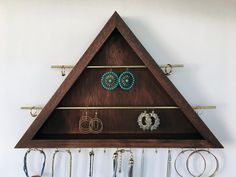 All in One Earring-Ring-Necklace Organizer / Jewelry Organizer / Earring Holder / Bracelet Display / Metal & wood Jewelry Organizer Display by JMKPracticalDesigns on Etsy