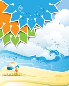 Summer Sunny vector backgrounds 01