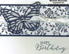 Butterfly basics boutique butterfly watermark, Floral Boutique DSP, Vellum, Night of Navy, Whisper White