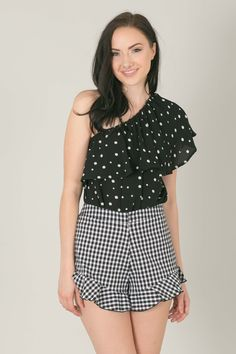 Space 46 wholesale, gingham shorts, gingham outfit, one shoulder top, black polka dot top