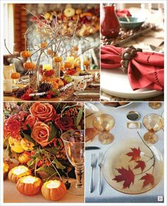 mariage automne centre table branchages bougeoir citrouille, feuille