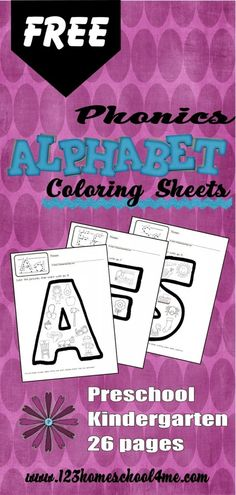 These FREE 26 pages of phonics alphabet sheets include:  FREE educational kindergarten worksheets for use within your home 26 alpha