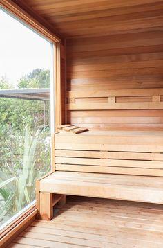 Wood sauna in backyard of Malibu home