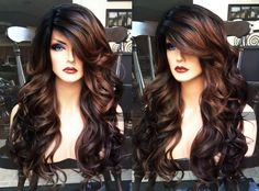 U.S.A. // HEAT SAFE Brown Auburn Ombre LACE Front & Part Curly Wig w/ Black Dark Roots by WantableWigs on Etsy https://www.etsy.com/listing/399882417/usa-heat-safe-brown-auburn-ombre-lace