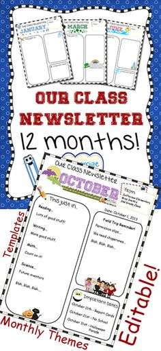 Themed newsletter templates for all year long! Keep parents informed. Editable so you can type your own text.