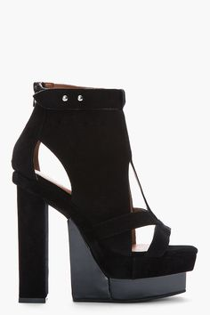 ebde40f74b08 JEFFREY CAMPBELL Black suede cute-out canton Sandal Holiday Shoes