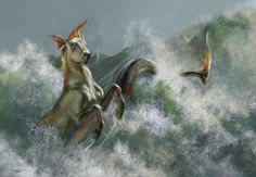 hippocamppus are commonly see in ancient Greek art and is a mythical creature associated with the Greek God of ocean Poseidon Mythological Creatures, Fantasy Creatures, Mythical Creatures, Fantasy World, Fantasy Art, Hippo Campus, Ancient Greek Art, Unicorn Art, Sea Monsters
