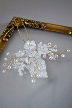 Bridal Lace Hair Pin, Crystal Pearls, Hair flowers, Bridal Hair Accessories, Vintage Style, Art Nouveau, Art Deco Hair, Pin Up,