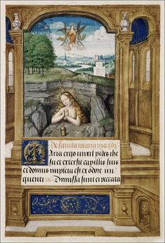 Mar Magdalen as Mary of Egypt. Book of Hours. Use of Rome. Medieval Manuscript, Illuminated Manuscript, Christian Devotions, Book Of Hours, Painted Paper, Religious Art, 16th Century, Middle Ages, Egypt