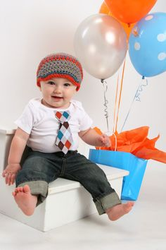 Baby Boy tie onesie/bodysuit and crochet hat set, fall, winter, short or long sleeves, birthday outfit, photo prop, Baby Boy Fashion. $22.95, via Etsy.