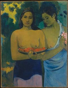 "As Gauguin brought his work in Tahiti to a close, he focused increasingly on the beauty and serene virtues of the native women. In this painting, he depended on sculpturally modeled forms, gesture, and facial expression to vivify the sentiments he had used to describe the ""Tahitian Eve"": ""very subtle, very knowing in her naïveté"" and at the same time ""still capable of walking around naked without shame"