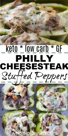Keto philly cheese steak stuffed peppers make an easy keto meal or dinner when y. Keto philly cheese steak stuffed peppers make an easy keto meal or dinner when you're hungry. The delish cheesesteak peppers are also low carb and gluten free. Ketogenic Recipes, Low Carb Recipes, Diet Recipes, Healthy Recipes, Pescatarian Recipes, Ketogenic Diet, Lunch Recipes, Dessert Recipes, Low Cholesterol Recipes Dinner