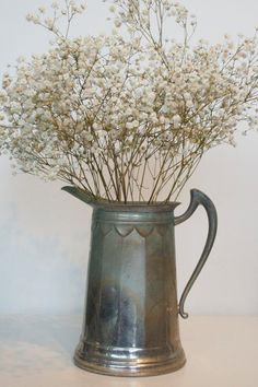 Vintage metal pitcher Royal Rochester Shabby chic by SCAVENGENIUS - makes a nice vase.