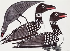 Kenojuak Ashevak. 2009. Loons Chased by Raven. Ink. 22 x 30 inches.