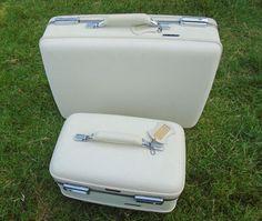 Vintage American Tourister Train Hardcase & Luggage Set (2) Piece Cream #AmericanTourister