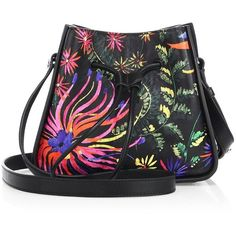 3.1 Phillip Lim Soleil Mini Printed Leather Drawstring Bucket Bag (5,080 CNY) ❤ liked on Polyvore featuring bags, handbags, shoulder bags, apparel & accessories, genuine leather handbags, mini bucket bags, leather shoulder bag, mini purse and bucket bags