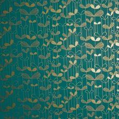 Papier peint - MissPrint - Saplings - Turquoise with gold