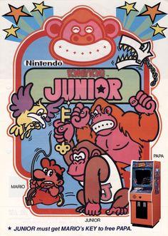 Supper Mario Broth - Arcade flyer for Donkey Kong Jr.