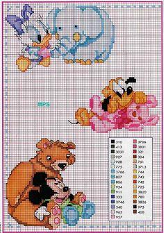 punto croce baby disney con animali