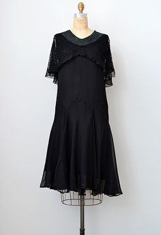 vintage 1920s black chiffon lace flapper dress