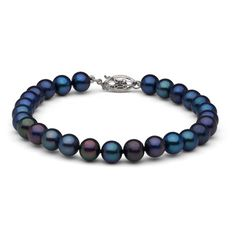 6.5-7.0 mm Black Freshwater Pearl Bracelet ($63) ❤ liked on Polyvore featuring jewelry, bracelets, black, fresh water pearl jewelry, peacock bangle, knot jewelry, knot bangle and 14k jewelry