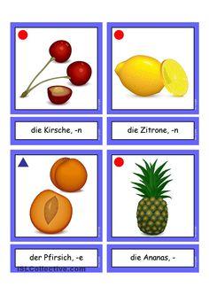Flashcards_Obst_1_mittel School Teacher Student, Handout, World Languages, Learn German, Oral Motor, German Language, Foam Crafts, Kindergarten, Activities