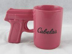 Cabela's Hand Gun Coffee Mug 16 oz Pink Pistol Grip Handled Ceramic Coffee Cup  #Cabelas
