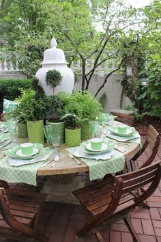 Green tea outdoor table setting (a smaller centrepiece would be better for round-table conversation)