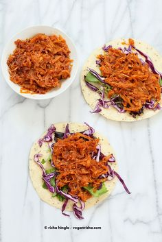 These Pulled Butternut Squash Tacos are fabulous for fall. Shredded Squash cooked with traditional Chipotle Sauce, served with crunchy slaw. Vegan Glutenfree