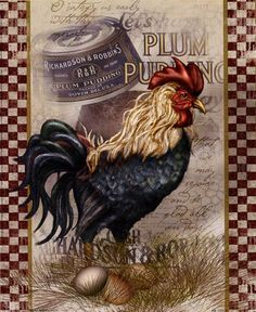 Global Gallery 'True Blue Rooster' by Alma Lee Vintage Advertisement on Wrapped Canvas Size: Rooster Art, Rooster Decor, Rooster Images, Chicken Painting, Chicken Art, Chicken Signs, Arte Do Galo, Collages D'images, Foto Transfer