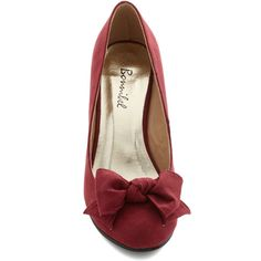 ModCloth Party Hostess Wedge (155 SEK) ❤ liked on Polyvore featuring shoes, zip up shoes, party shoes, going out shoes, bow shoes and bow wedges shoes