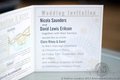 Invitation text example from Calabria Bifold invitation - Modern Wedding Invitation Fonts - A S Invites