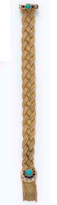 Marchak- Parure Collier et Bracelet 'Tresse' - Or, Turquoise, Sphirs et Diamants
