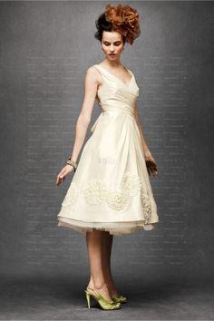 Ivory A-line V-neck Satin Hand Made Flower Knee-length Wedding Dress at Millybridal.com
