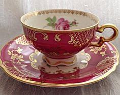 Vintage Mitterteich Demitasse Tea Cup and Saucer, Floral, Pink, Gold, Bavaria, c. 1940's