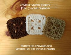 3 Inch Solid Granny Square - Free Crochet Pattern by EyeLoveKnots for The Stitchin' Mommy | www.thestitchinmommy.com