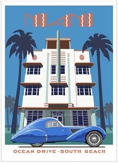 Art deco poster featuring a 1937 Talbot Lago outside Miami hotel. New poster by Bill Philpot. #ArtDeco #TalbotLago #Miami #SouthBeach Art Deco Posters, Vintage Posters, Automobile Companies, Ocean Drive, New Poster, South Beach, Original Artwork, Street Art, Miami
