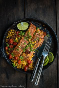 Salmon with Roasted Tomatoes and Corn - Mommyhood's Diary