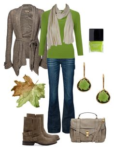 """Comfy Green Fall Outfit"" by natihasi ❤ liked on Polyvore featuring Daytrip, 7 For All Mankind, John Lewis, Coralia Leets, MANGO, Proenza Schouler, American Vintage and Butter London"
