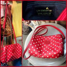 """80s red polka dot crossbody bag with adjustable strap by Liz Claiborne.  Faux leather with leather trim.  Measures 8"""" long by 7"""" high by 4"""" deep."""