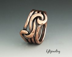 Copper Knot ring, Love Knot Ring, Infinity Ring, Forged Ring, Eternity Ring,  Copper Ring, Double Knot Ring , 12 gauge Copper wire by LjBjewelry on Etsy https://www.etsy.com/listing/87956203/copper-knot-ring-love-knot-ring-infinity