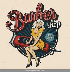 Old school style colorful PinUp Barber Shop T-shirt Design. Barber Logo, Barber Shop, Girl Power Tattoo, Girl Tattoos, American Logo, Pin Up, Attractive Girls, Design Girl, Retro Look