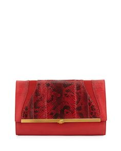 Katerine Combo Clutch Bag, Flame Red by Khirma Eliazov at Bergdorf Goodman.