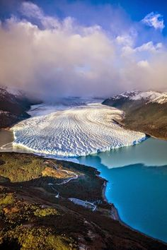 Aerial view of Glacier in rural landscape, The Perito Moreno Glacier, Los Glaciares National Park, El Calafate - Patagonia, Argentina ~ Places To Travel, Places To See, Travel Destinations, Beautiful World, Beautiful Places, Beautiful Scenery, Places Around The World, Aerial View, Amazing Nature