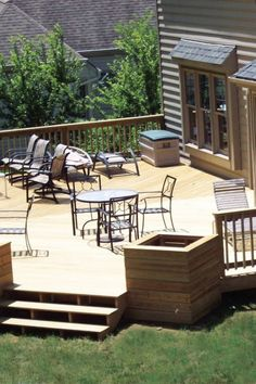 29 Beautiful DIY Wood Deck Projects you should try for your backyard Wood Deck Designs, Pergola Designs, Wood Deck Plans, Diy Deck, Patio Decks, Building A Porch, Pond Design, Deck Lighting, Lighting Ideas