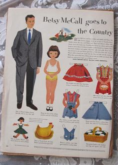 I loved when my grandmother bought McCalls magazine and we got to cut out the paperdolls.     2 Sets Betsy McCall Paper Dolls 1951 52 Vintage by cshort0319, $19.99