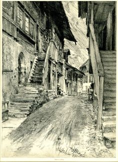 Adolph Menzel - Interlaken; view along a street with steps to houses on either…