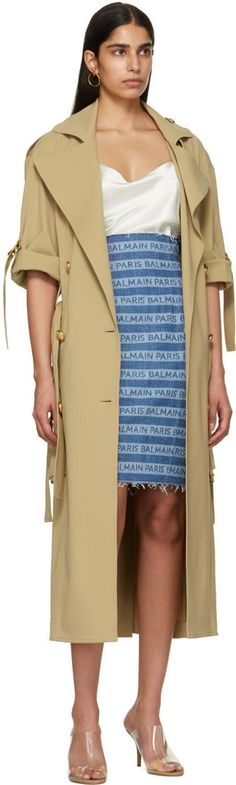 from @SSENSE's closet #balmain #yeezy #sophiebuhai #joseph World Of Fashion, Fashion Online, Double Breasted Trench Coat, Casual Heels, Casual Skirts, White Silk, Kanye West, Balmain, Denim Skirt
